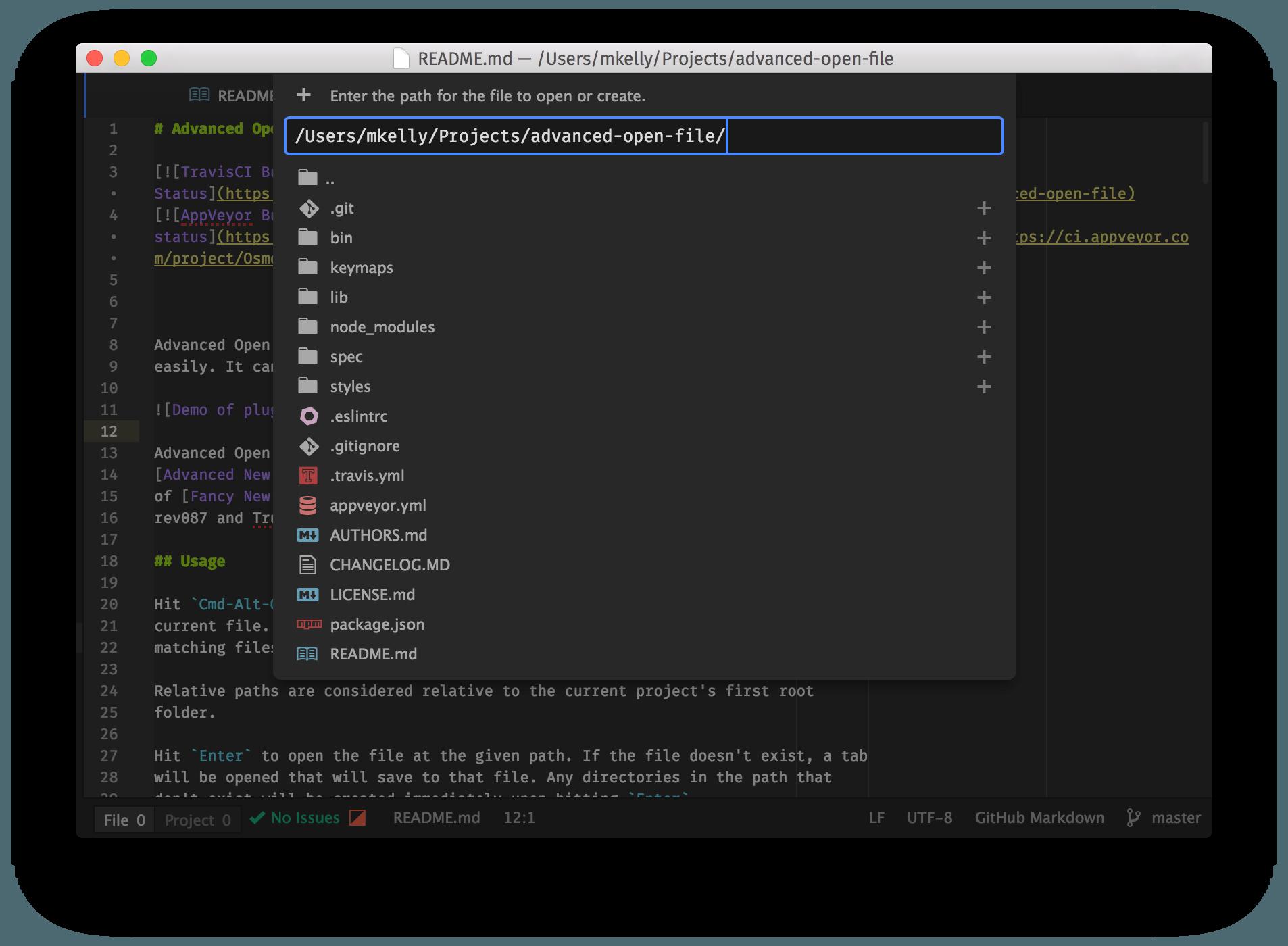 Screenshot of plugin
